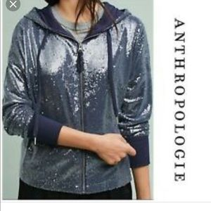 Anthropologie Postage Stamp Sequined Hooded Jacket